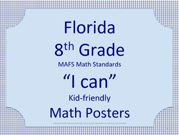 Florida 8th Eighth Grade MAFS Math Standards Posters