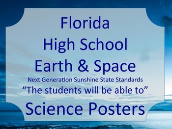 Florida High School HS Earth Space Science Standards Poste