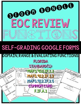 Florida Algebra 1 Functions- domain range relation evaluation {GOOGLE FORMS}