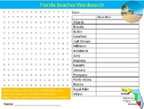 Florida Beaches Wordsearch Sheet Cartoon Starter Activity US Geography