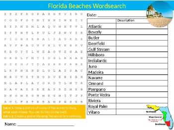 Florida Beaches Wordsearch Sheet Cartoon Starter Activity US Geography