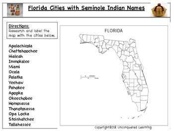 Florida Cities with Seminole Indian Names