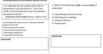 Florida Civics End of Course Exam Bell Ringer Review Questions