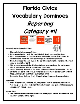 Florida Civics Vocabulary Dominoes:  Reporting Category #4
