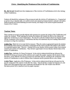 Florida Civics - Weaknesses of Articles of Confederation SS.7.C.1.5