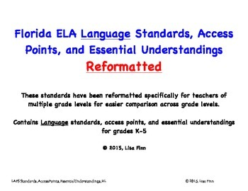 Florida ELA Language Standards, Access Points, and EU's Reformatted