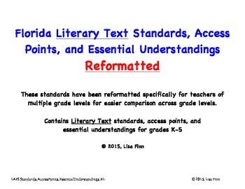 Florida ELA Literary Text Standards, Access Points, EU's R