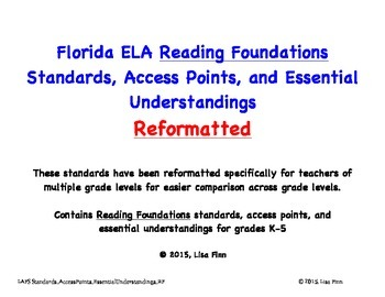 Florida ELA Reading Foundations Standards, Access Points, and EU's Reformatted