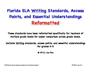 Florida ELA Writing Standards, Access Points, and EU's Reformatted