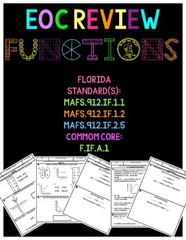 Florida Algebra 1 Functions- domain, range, relation, & evaluation