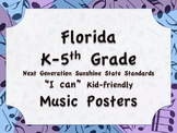 Florida Elementary MUSIC Bundle K-5 NGSSS Standards Posters