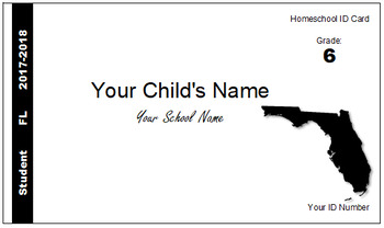 Florida (FL) Homeschool ID Cards for Teachers and Students