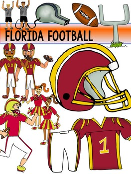 Florida Football Clip Art {Dolphins Gators Jaguars Seminoles} Blackline Included