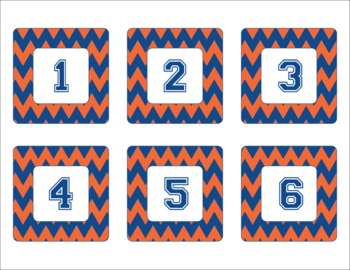 Florida Gators Inspired Blue and Orange Chevron Calendar Pieces