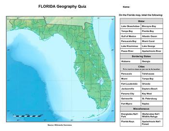 Florida Geography Map.Florida Geography Quiz
