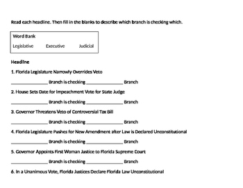 Florida Government Checks and Balances Worksheet
