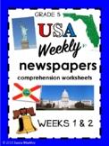 Florida Grade 5 weekly USA Social Studies newspaper worksheets - WEEKS 1 and 2