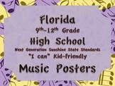 Florida High School HS MUSIC 9-12 NGSSS Standards Posters