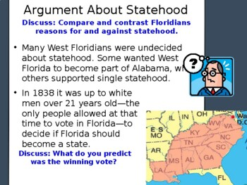 Florida History Gr 4 Statehood 27th State Disagreement Social Studies SS FL