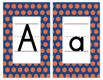 Florida Inspired Blue and Orange Alphabet & Number Cards for Word Walls-Editable