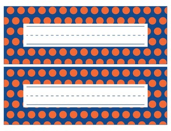 Florida Inspired Blue and Orange Editable Name Plates/Desk Tags/Word Wall