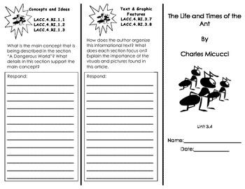 Journeys Houghton Mifflin Common Core Florida Unit 3 Trifolds/ 4th grade