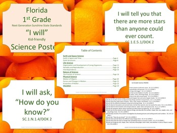 Florida K-5 I WILL Bundle Science Standards NGSSS Orange Border