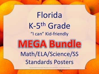 Florida K-5th Grade I CAN Math ELA Science AND SS  Standar