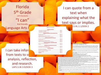 Florida K-5th Grade Bundle ELA Language Arts LAFS Standards Posters