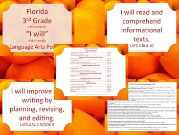 Florida K-5th Grade Bundle ELA Language Arts LAFS I WILL Standards Posters