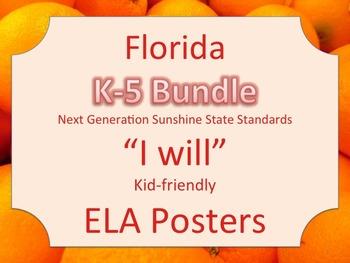 Florida K-5th Grade Bundle ELA Language Arts LAFS I WILL S