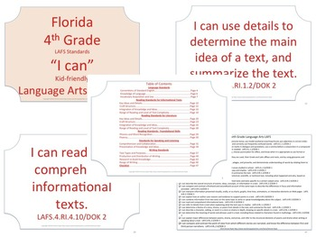 Florida K-5th Grade Bundle ELA Language Arts LAFS Standards Posters No Border