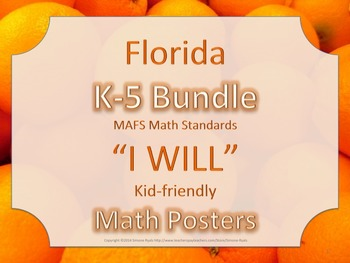 Florida K-5th Grade Bundle MATH I WILL MAFS Standards Posters