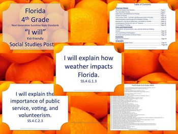 Florida K-5th Grade Bundle SS Social Studies NGSSS I WILL Standards Posters