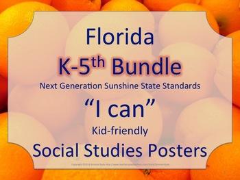 Florida K-5th Grade Bundle SS Social Studies NGSSS Standar