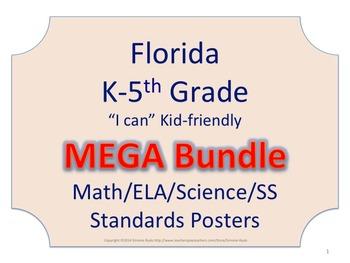 Florida K-5th Grade Math ELA Science AND SS Standards NO BORDER  MEGA Bundle