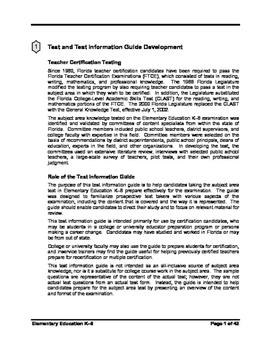 Florida K-6 Subject Area Study Guide