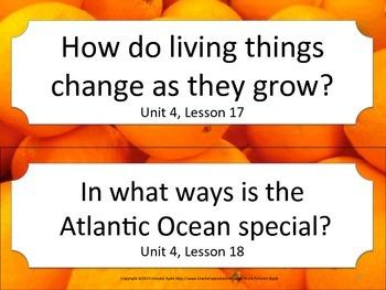Florida K Kindergarten ELA ESSENTIAL QUESTIONS Oranges