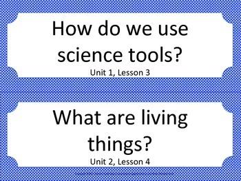 Florida K Kindergarten Science ESSENTIAL QUESTIONS Blue