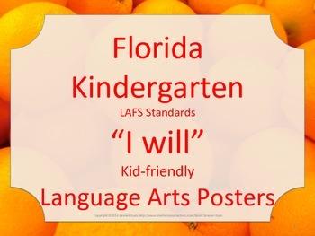 Florida Kindergarten LAFS ELA Language Arts I WILL Standards Posters