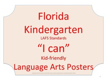 Florida Kindergarten LAFS ELA Language Arts Posters No Border
