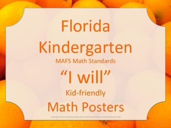 Florida Kindergarten MAFS I WILL Math Standards Posters