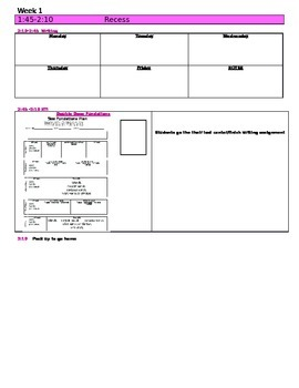Florida Kindergarten Lesson Plan Template