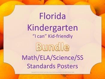 Florida Kindergarten Math ELA Science SS Standards Posters Bundle