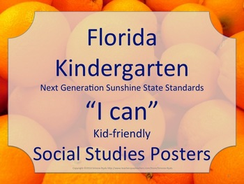 Florida Kindergarten SS Social Studies NGSSS Standards Posters