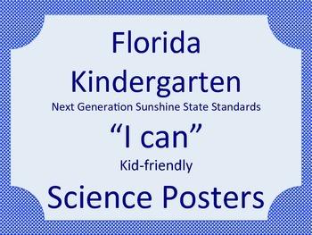 Florida Kindergarten Science Next Generation Sunshine State Standards NGSSS Blue