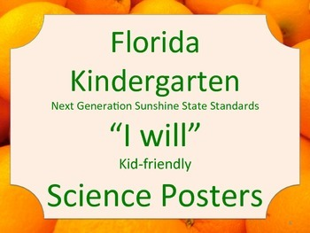 Florida Kindergarten Science Standards NGSSS I WILL Orange