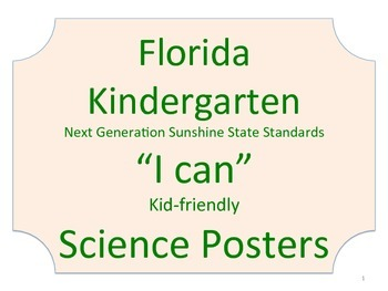 Florida Kindergarten Science Standards NGSSS No Border