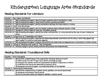 Florida Kindergarten Standards