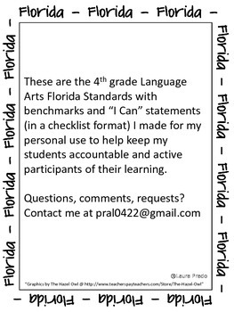 """Florida Language Arts Standards in """"I Can"""" statements...."""